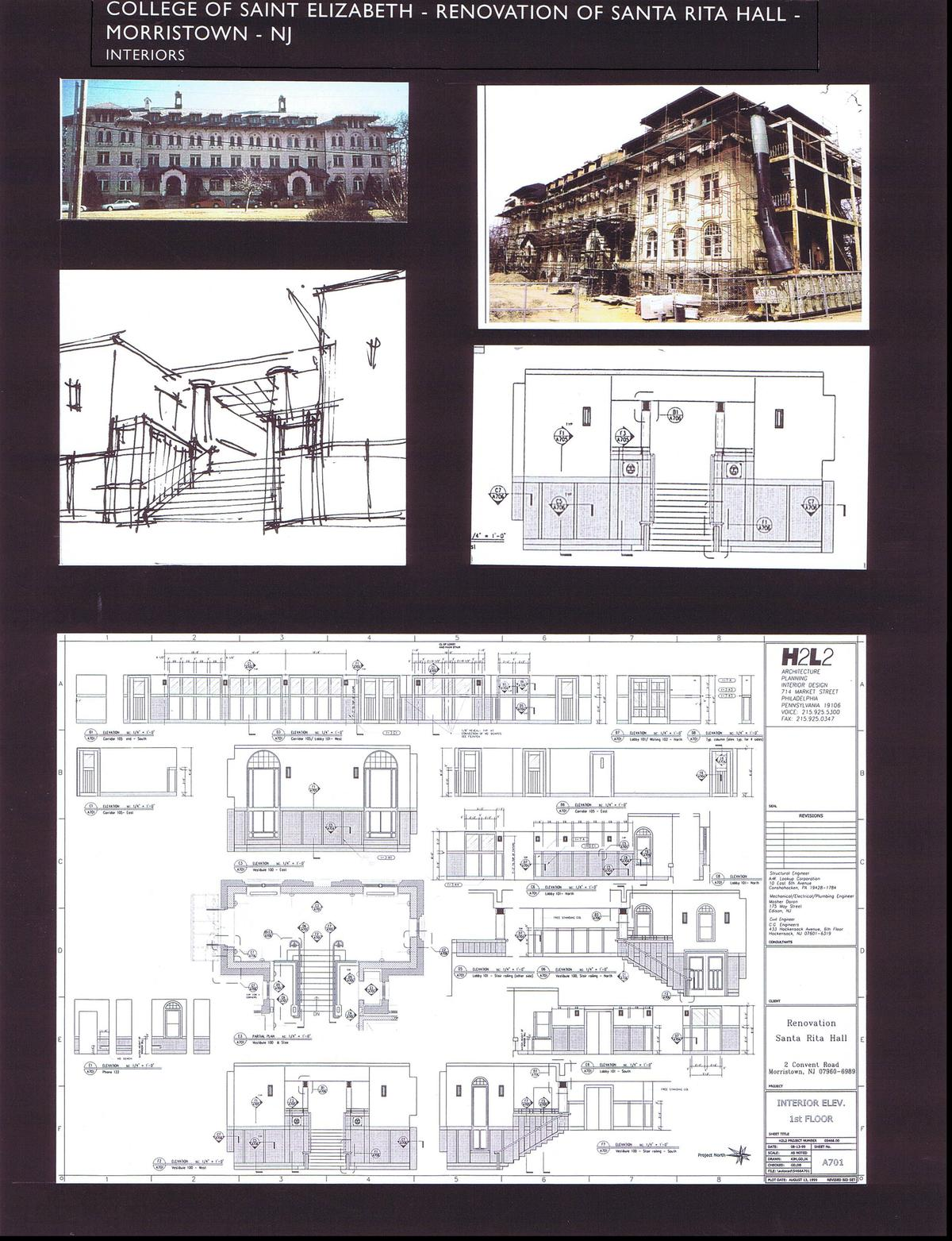 Sketch and Int. Elev. of Main Stair, Interior Elevations