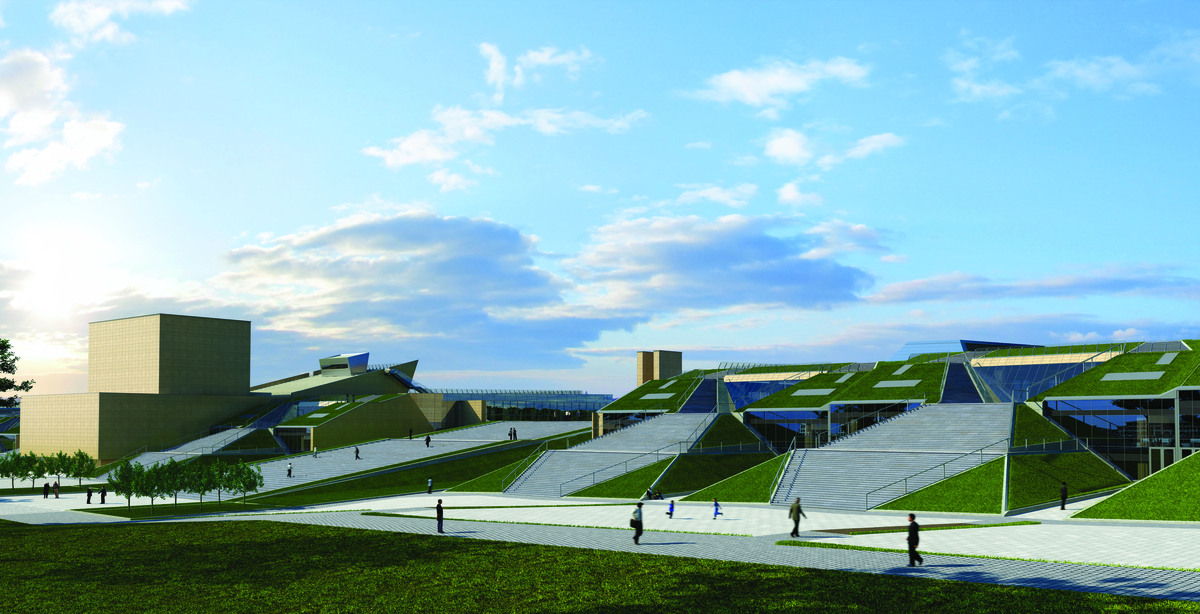 steps leading to the roof garden, 3D rendering