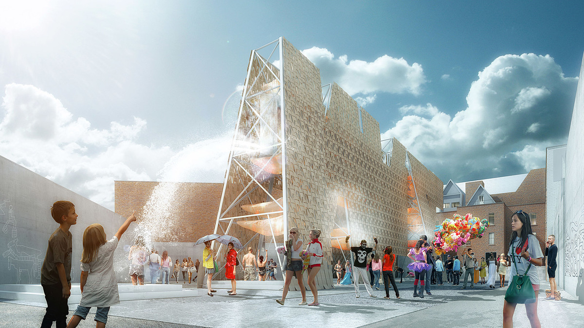 Rendering of CODA's Party Wall, winning design of the 2013 Young Architects Program. The Museum of Modern Art and MoMAPS1. Image courtesy of CODA.