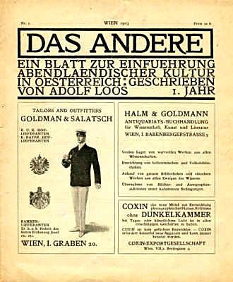 Figure 11 - Adolf Loos, advertisement for Goldmann and Salatsch in Das Andere
