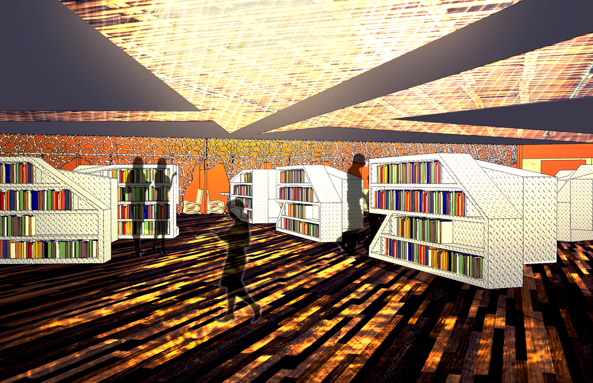 The library, with its skylights and metal bookshelves