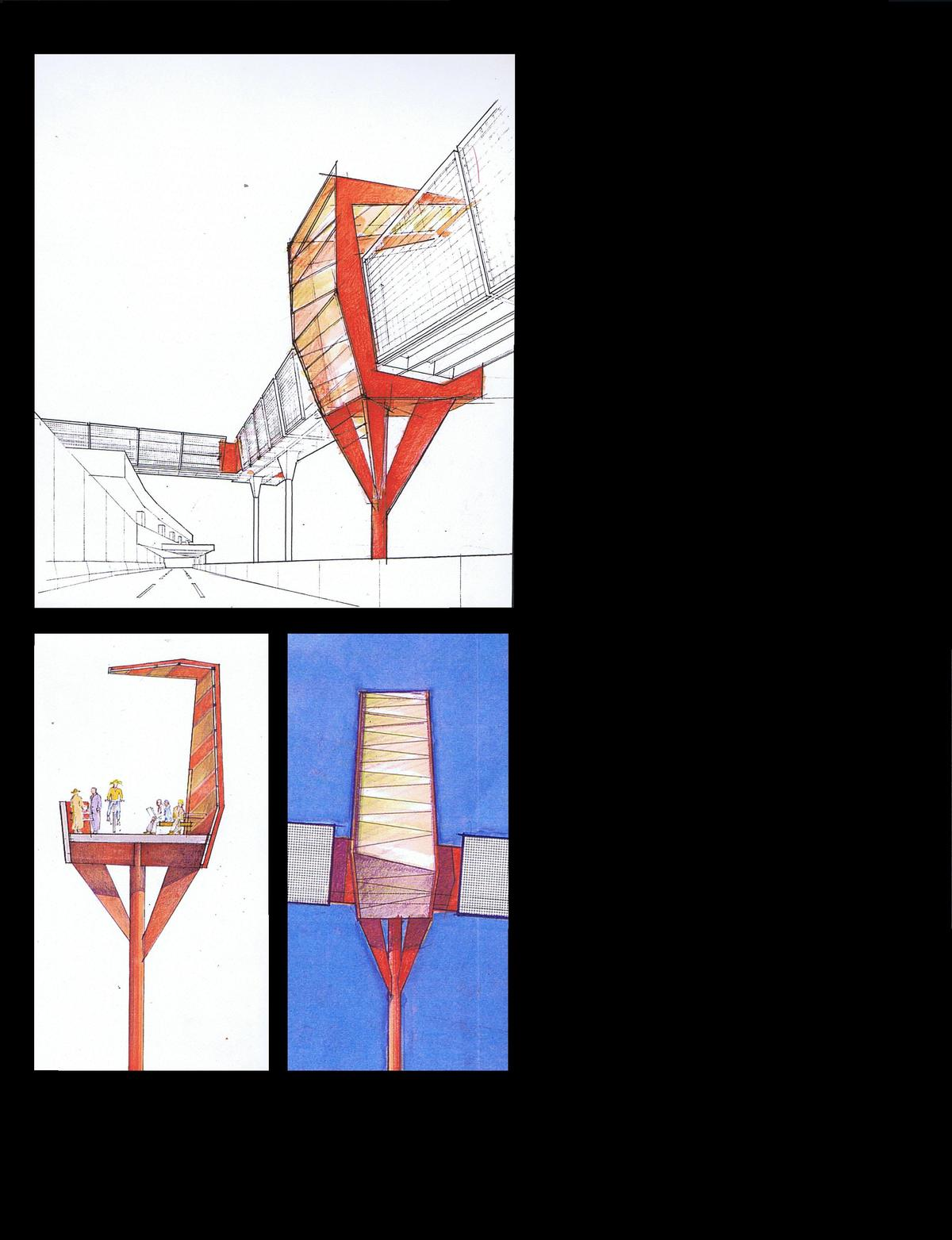 Viewing and sitting places, Perspective and Elevations