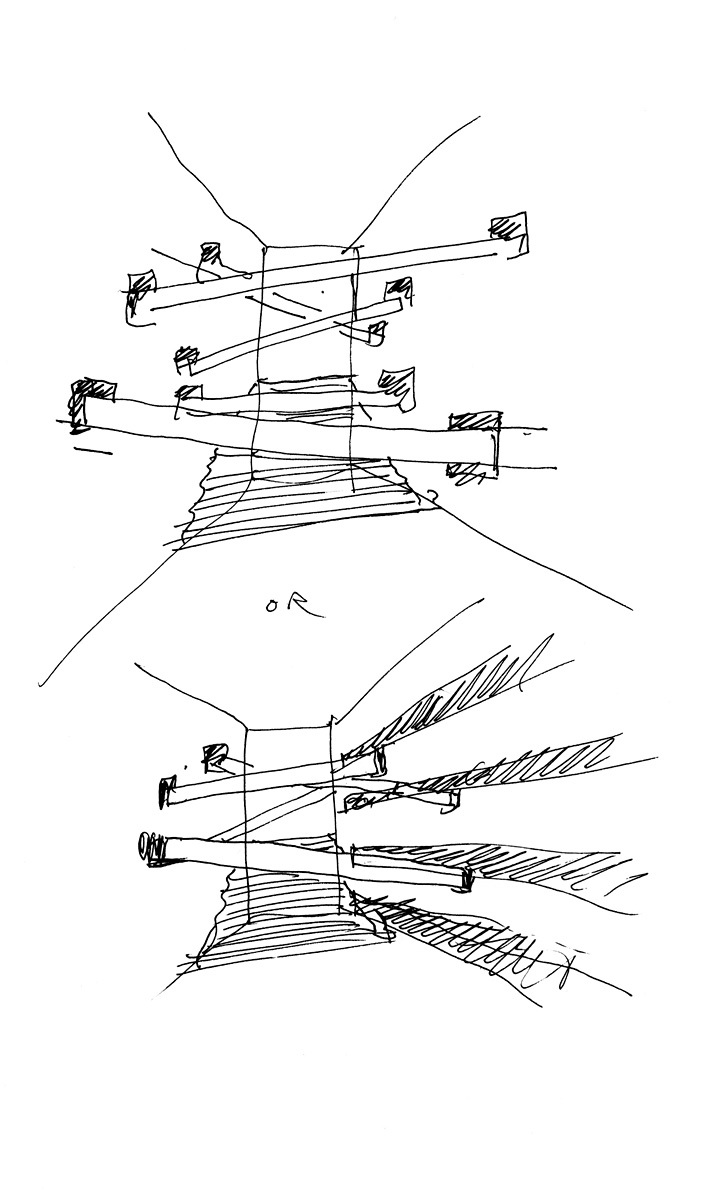 Bernard Tschumi Architects, ANIMA Cultural Center in Grottammare, Italy. The East courtyard with the elevated bridges (sketch by Bernard Tschumi).