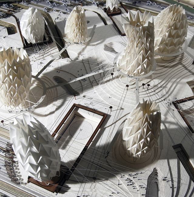 The contoured landscape underneath the knitted canopy exposes a series of interconnecting walkways that allow the Emperor's army to scramble from one lung to another. © Thomas Hillier.
