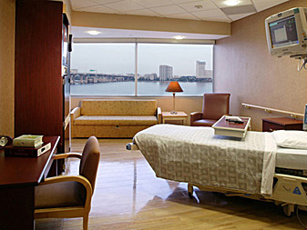 Typical Step-down Patient Room facing the St. John's River