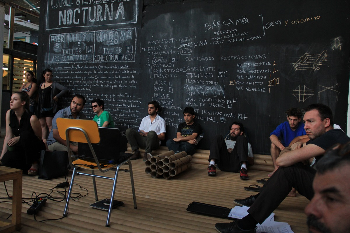 A session of the 'Night School' 'institution' that was part of TOMA's