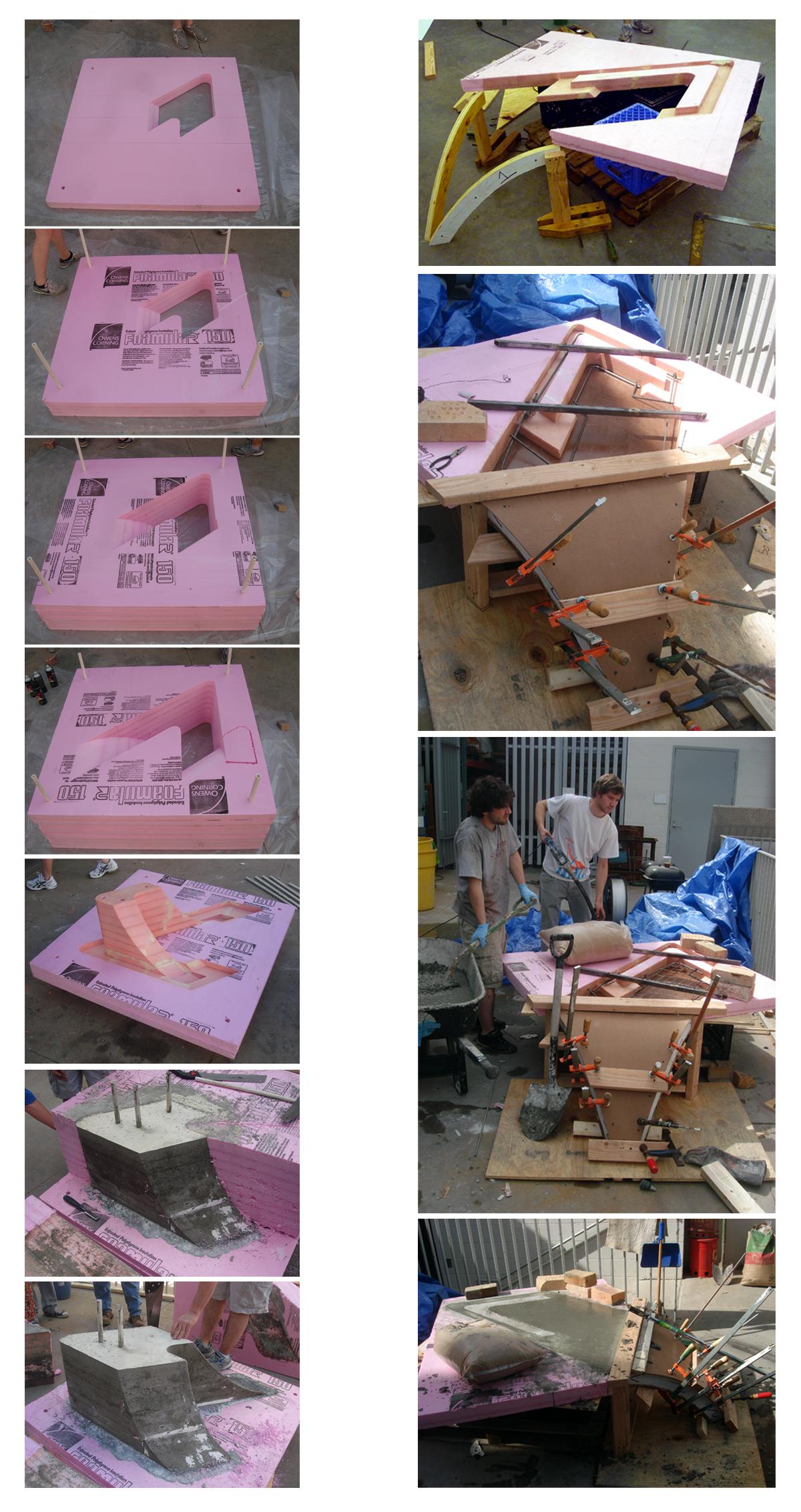 Noguchi Bench_CNC pieces and Concrete pouring process