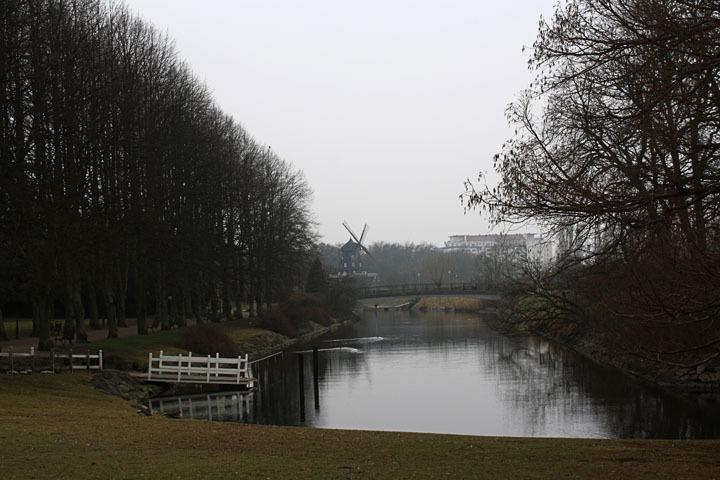 Malmö windmill on a lake