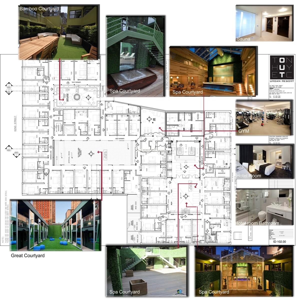 Second Floor Plan- Hotel Rooms, Out Door Courtyards,GYm,Sauna