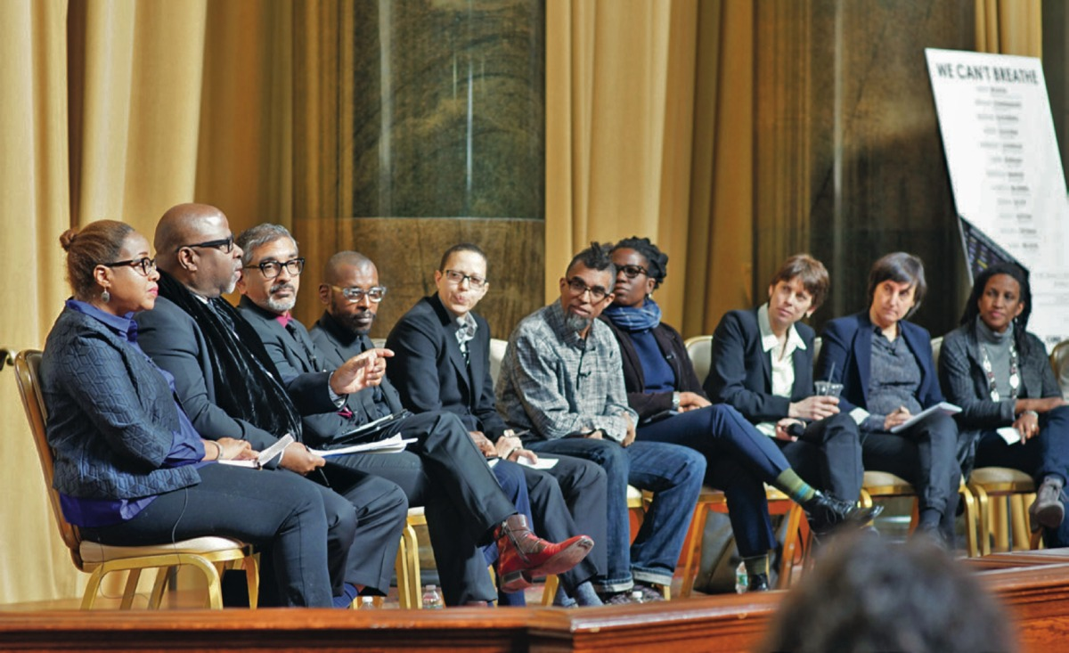 We Can't Breathe event in Low Memorial Library, with (l-r) Mabel Wilson, Kendall Thomas, Vishaan Chakrabarti, Mario Gooden, V. Mitch McEwen, Dread Scott, Stacey Sutton, Suzanne Goldberg, Laura Kurgan, Kimberly Johnson, Reinhold Martin. Image courtesy of Columbia GSAPP.