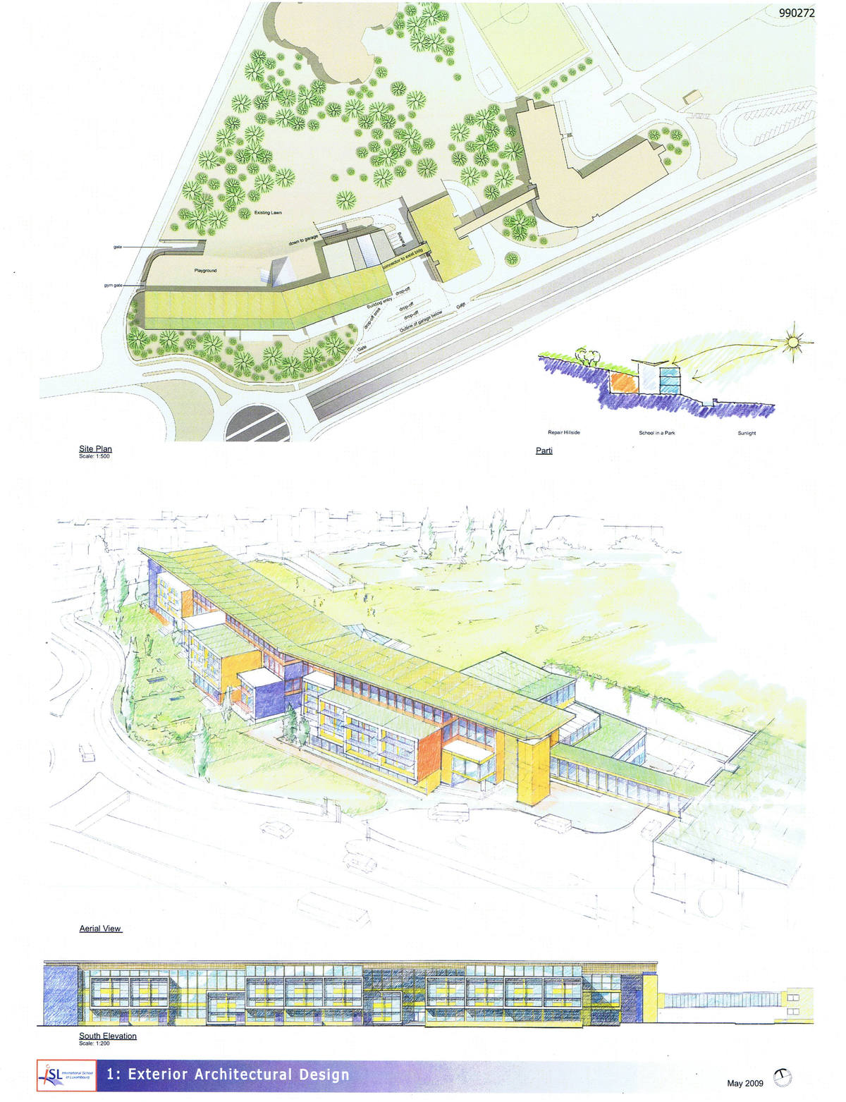 Site, Perspective and Front Elevation