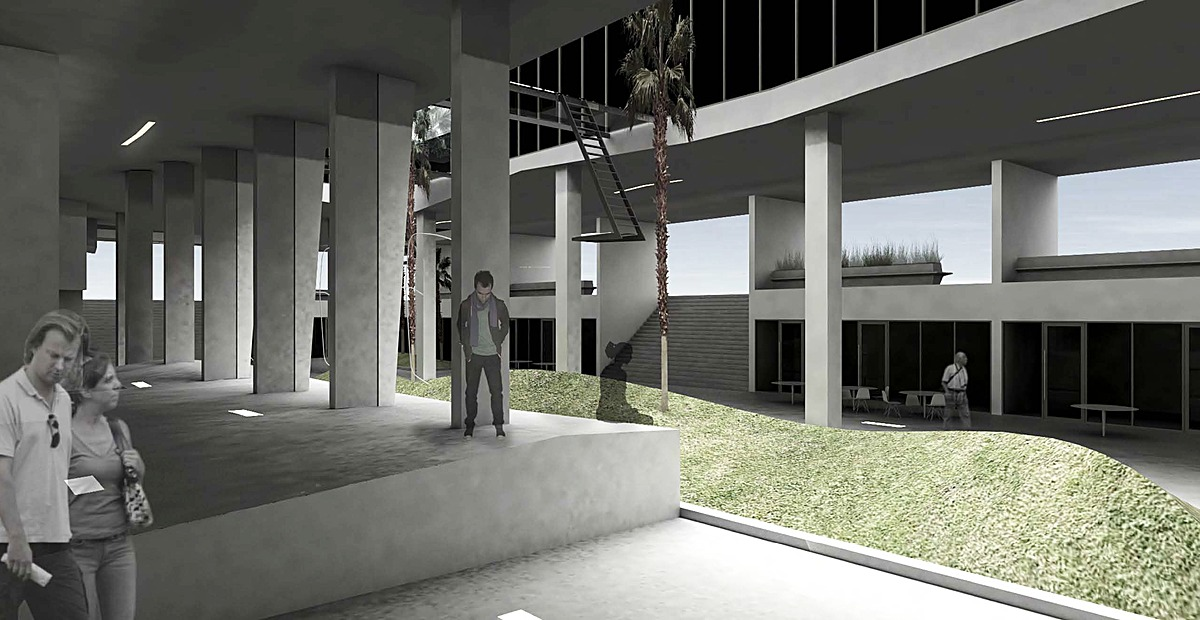 Within the plaza - planted, shaped berms correspond with courtyard like cuts through the lifted podium