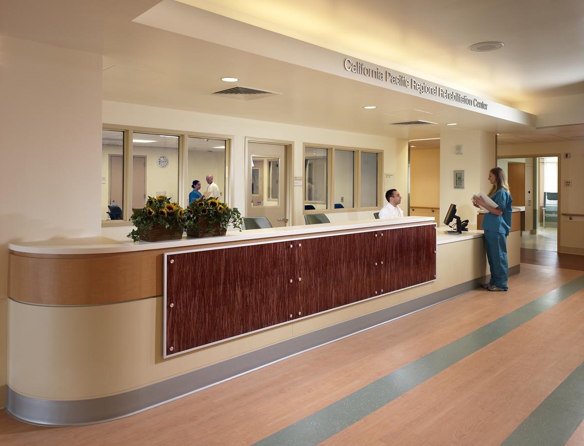 Reception area at the Public Elevator Lobby. Nurse workroom behind
