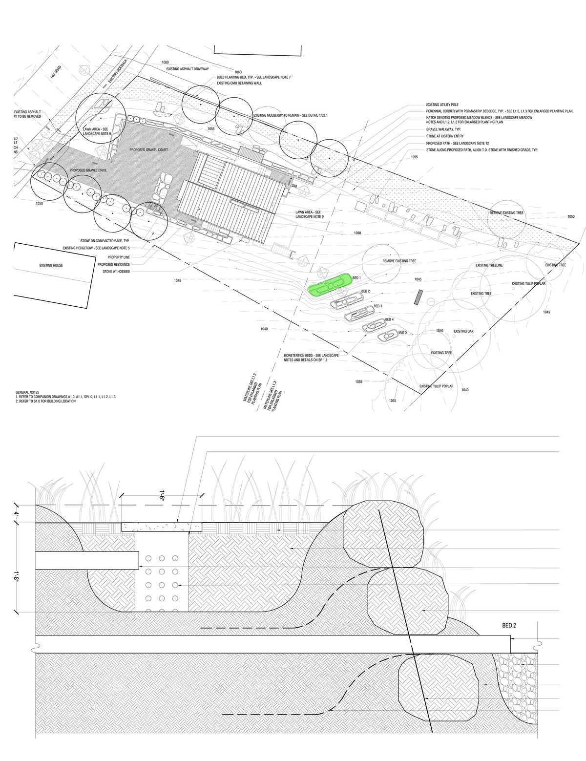 Site plan and greywater bed section