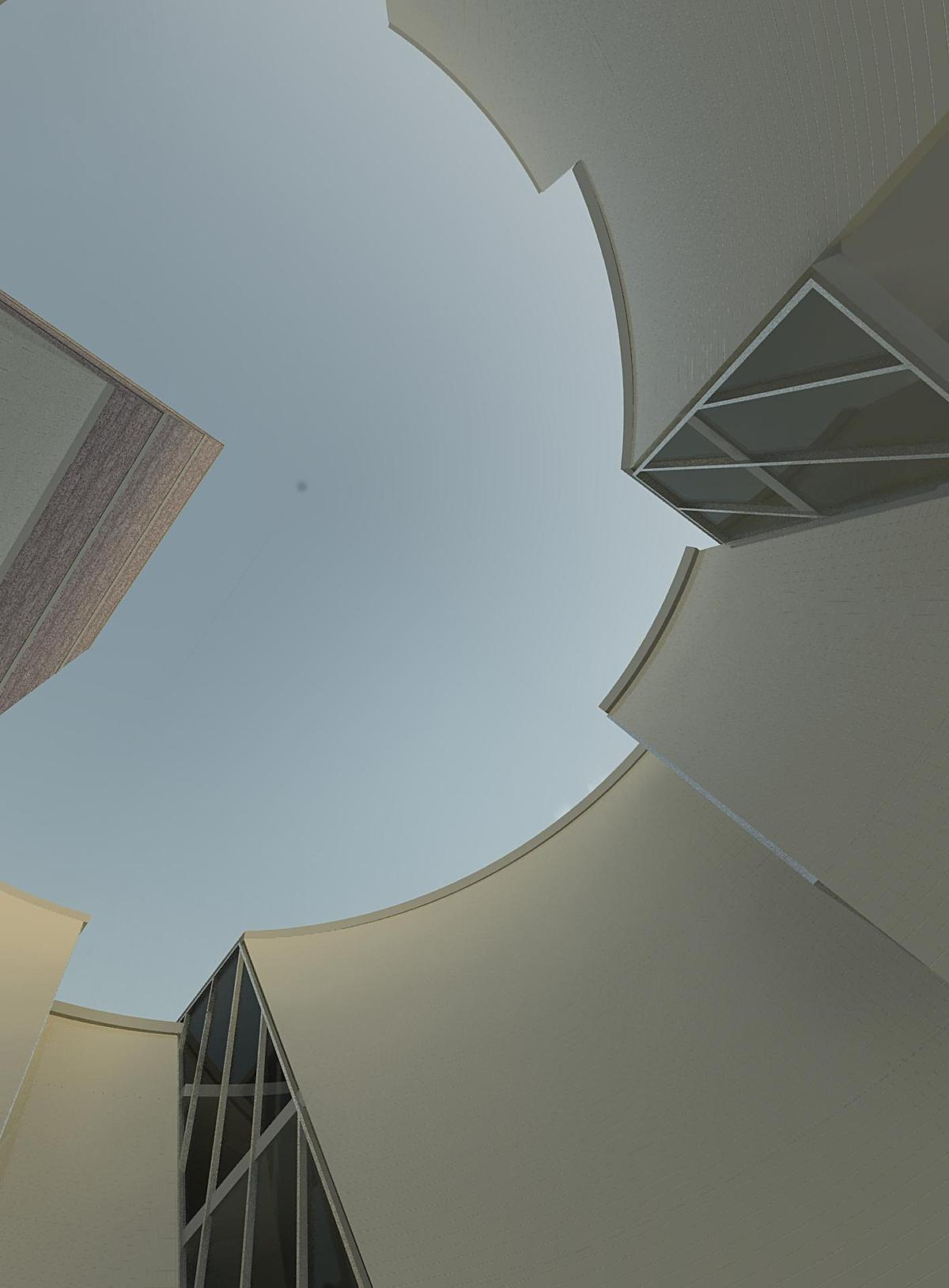 View looking up from courtyard