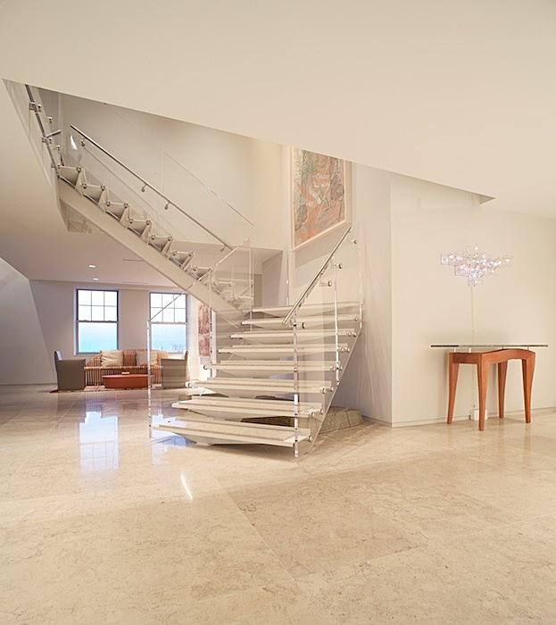 stair: steel/stone, balustrade: ss hardware w/