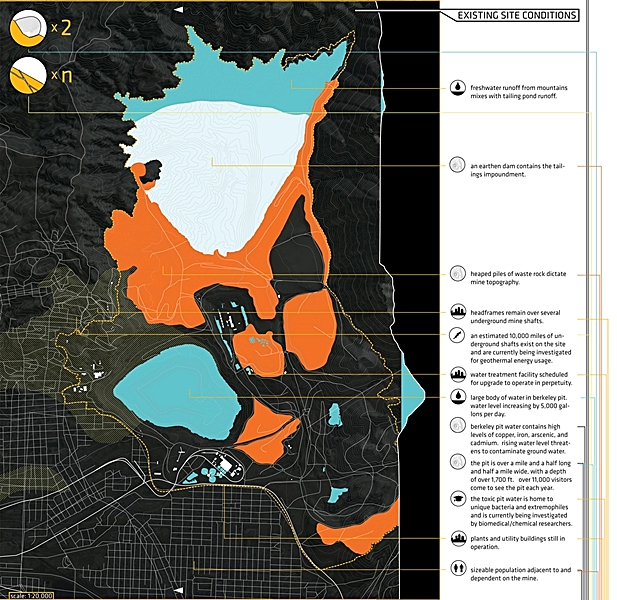 mapping existing mine features at Berkeley Pit Copper Mine