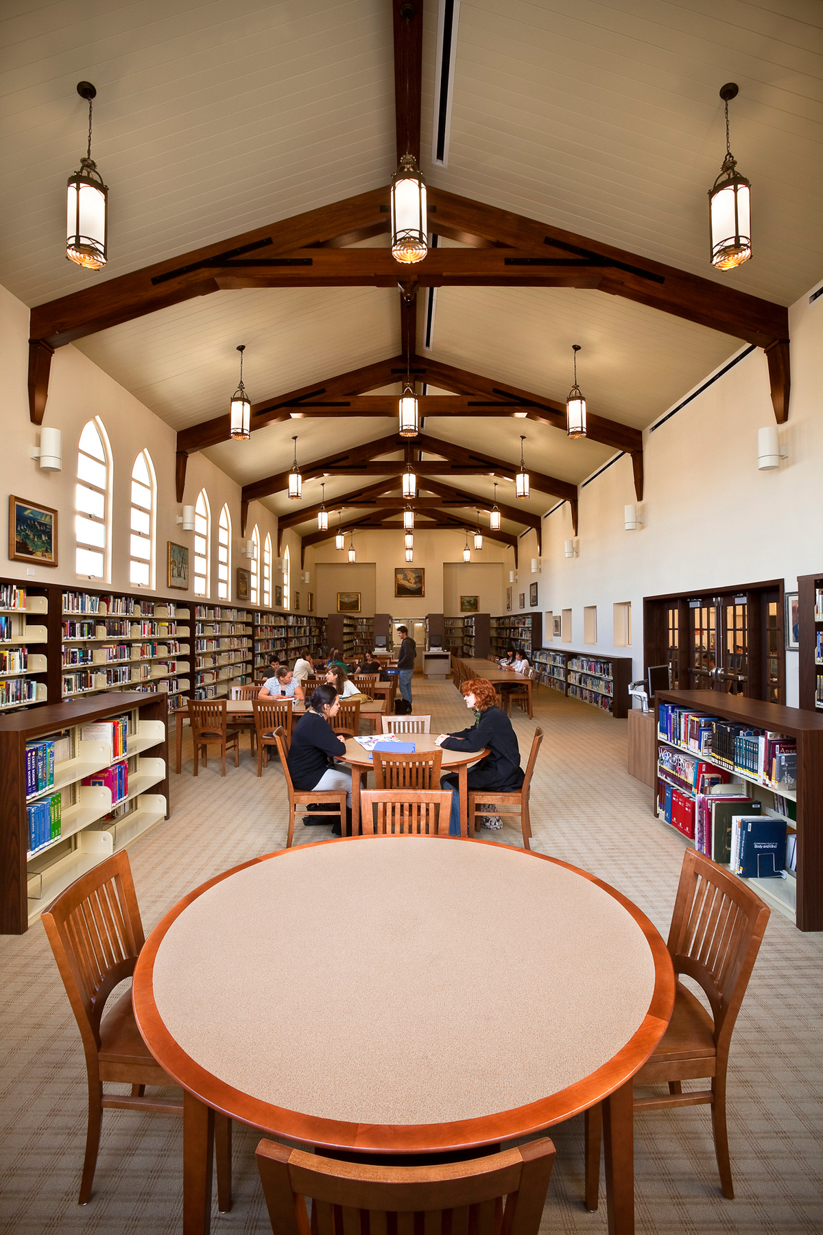 Thoughtful space planning makes for a light, functional library at Newport Harbor High School.