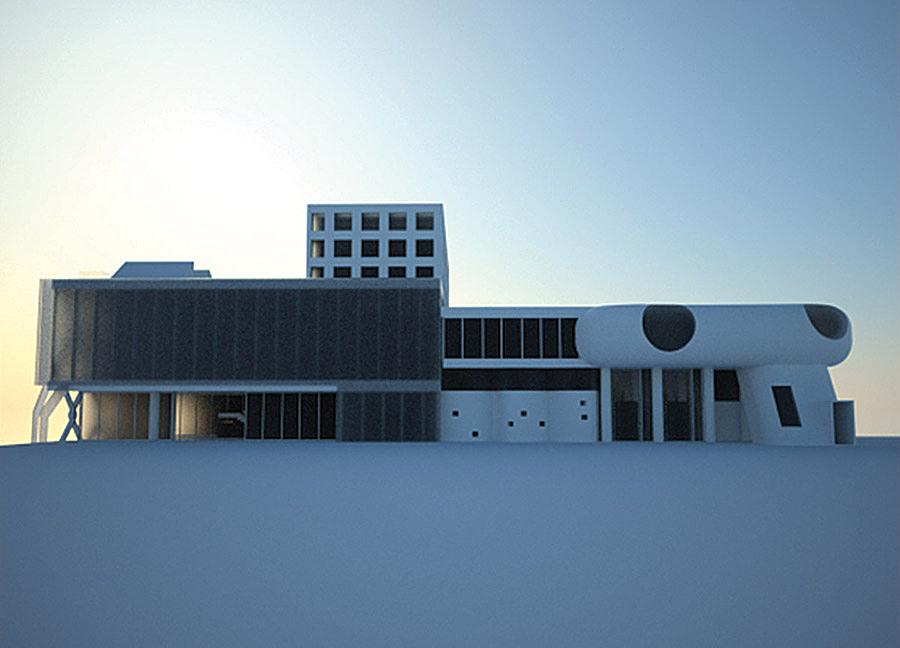 Rear Elevation. Mixture of parts: Corbusier, Mies, Classical, Mushroom, Translucency, Beineke
