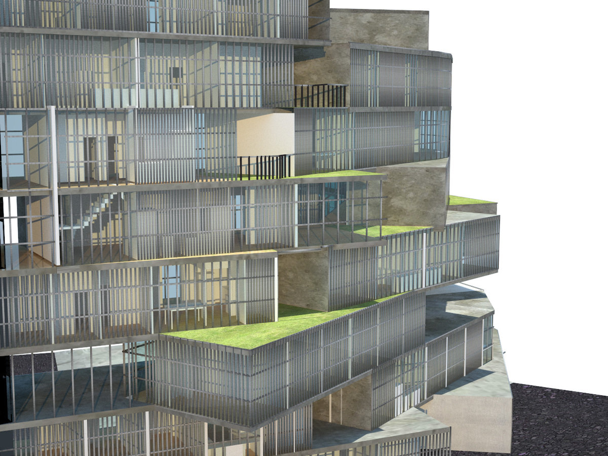 project rendering showing the dynamic fenestration and varying interstitial spaces among the residences
