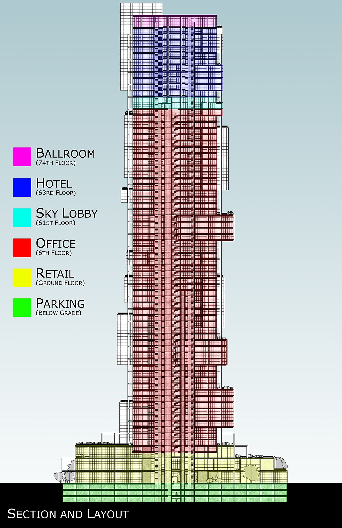 Section showing the breakdown of programmatic elements of the building