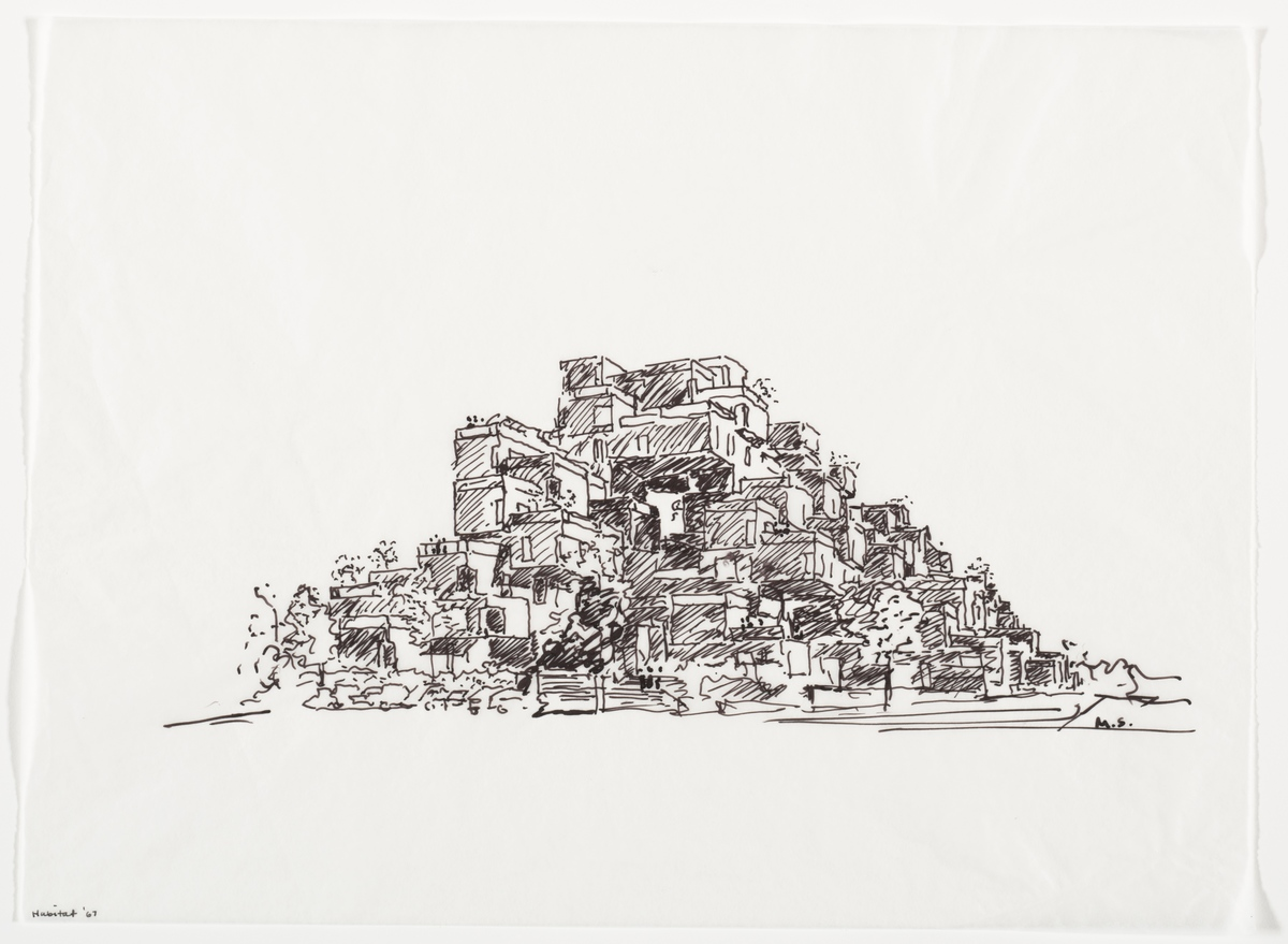 A sketch of Habitat 67. Credit: Moshe Safdie courtesy of Safdie Architects