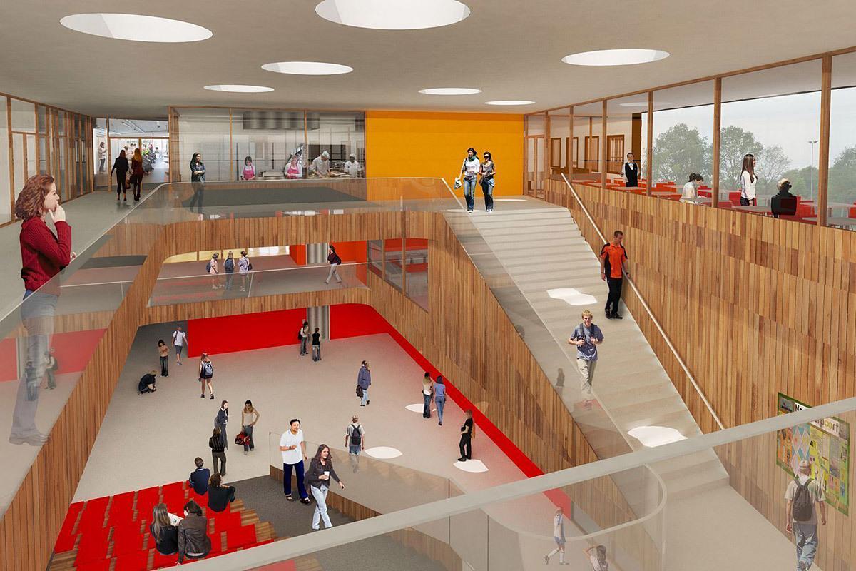 Foyer of Mecanoo's winning design for the new Noorderpoort College in Stadskanaal, The Netherlands (Image: Mecanoo)