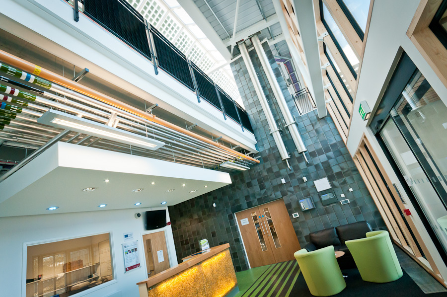 Reception Area with Building Management System (BMS) displays