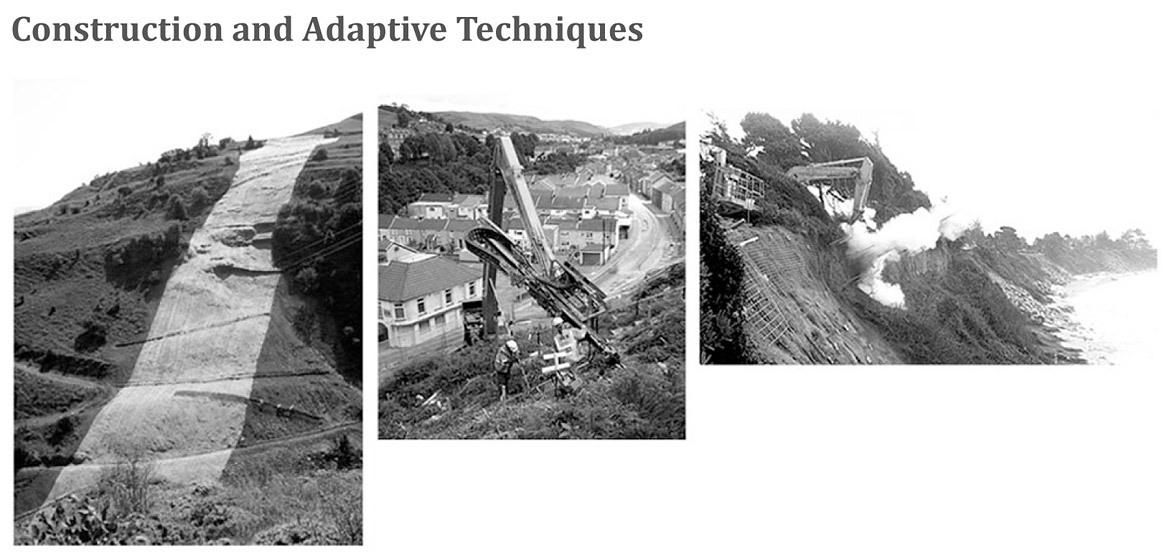 Construction techniques for deployment of landslide mitigation units.