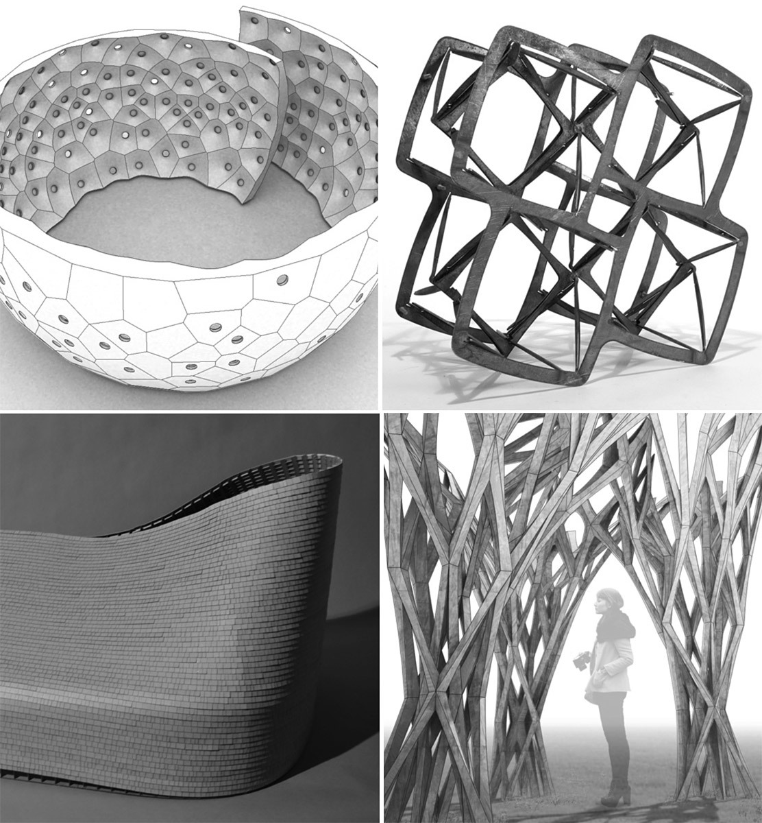 First Round Finalist in the categories Continuing Research and Speculative Research: FAB POD, SPIN-VALENCE, CAST THICKET, and LATENT METHODS (clock-wise from top-left)