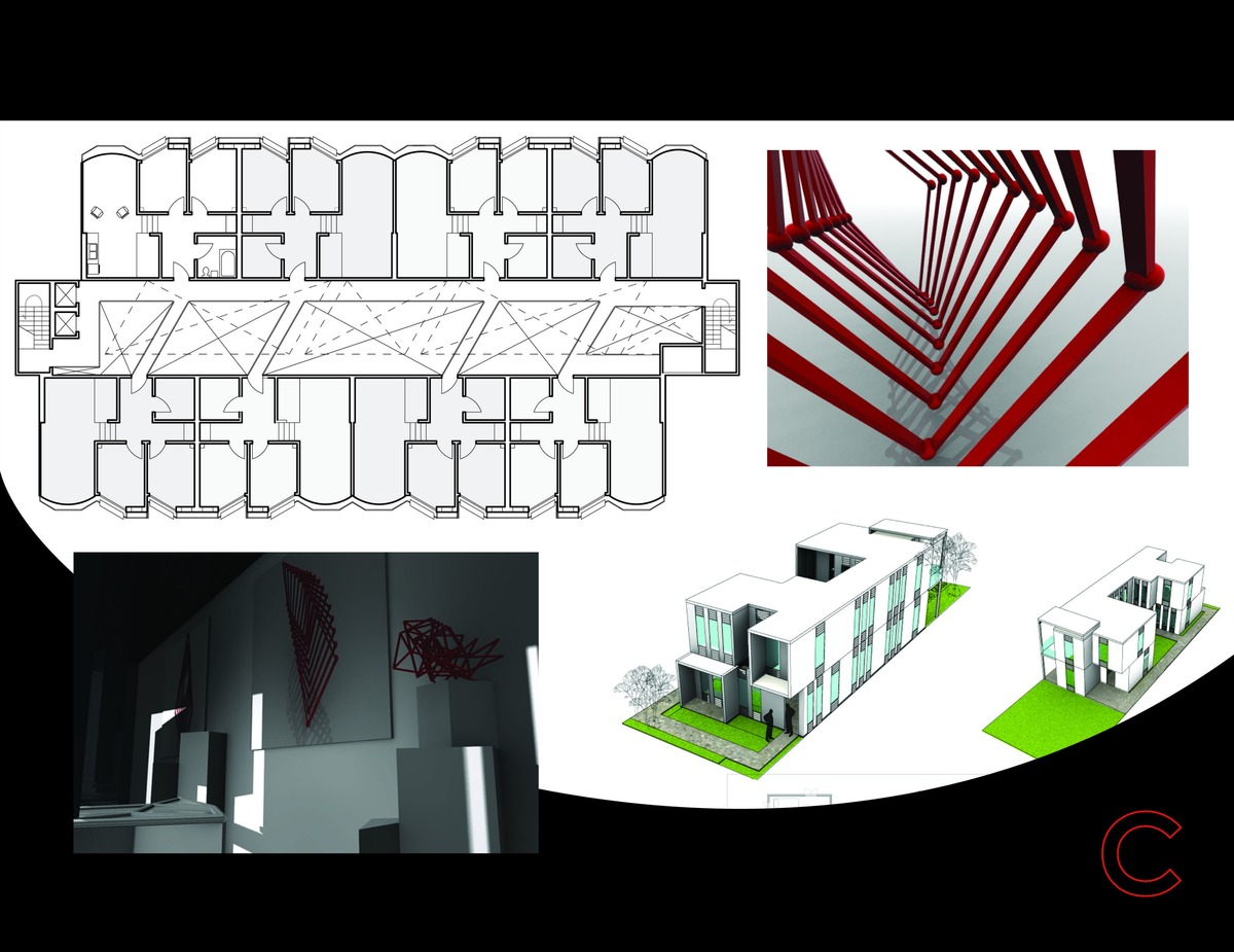 Graduate Student Housing, Product Rendering and Haiti Disaster Shelter Designs