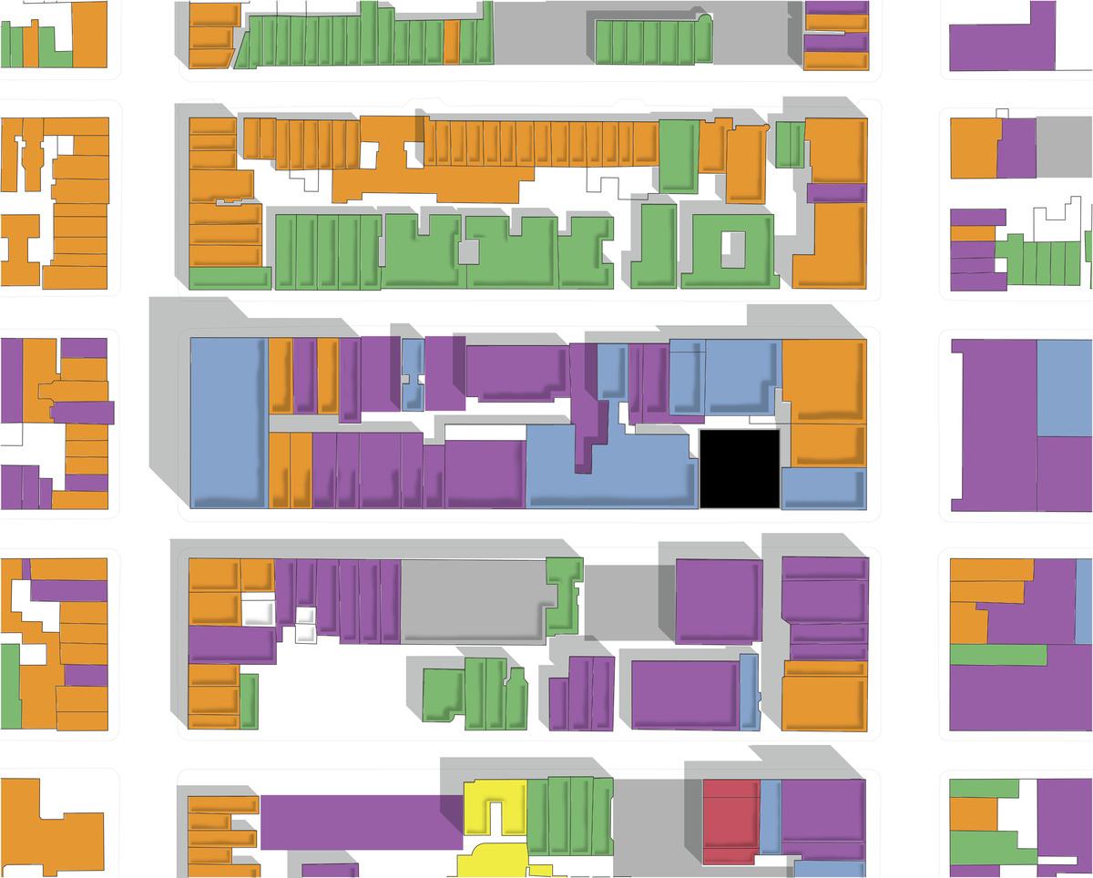 ground level program; site[black], restaurant[orange],theater[blue]