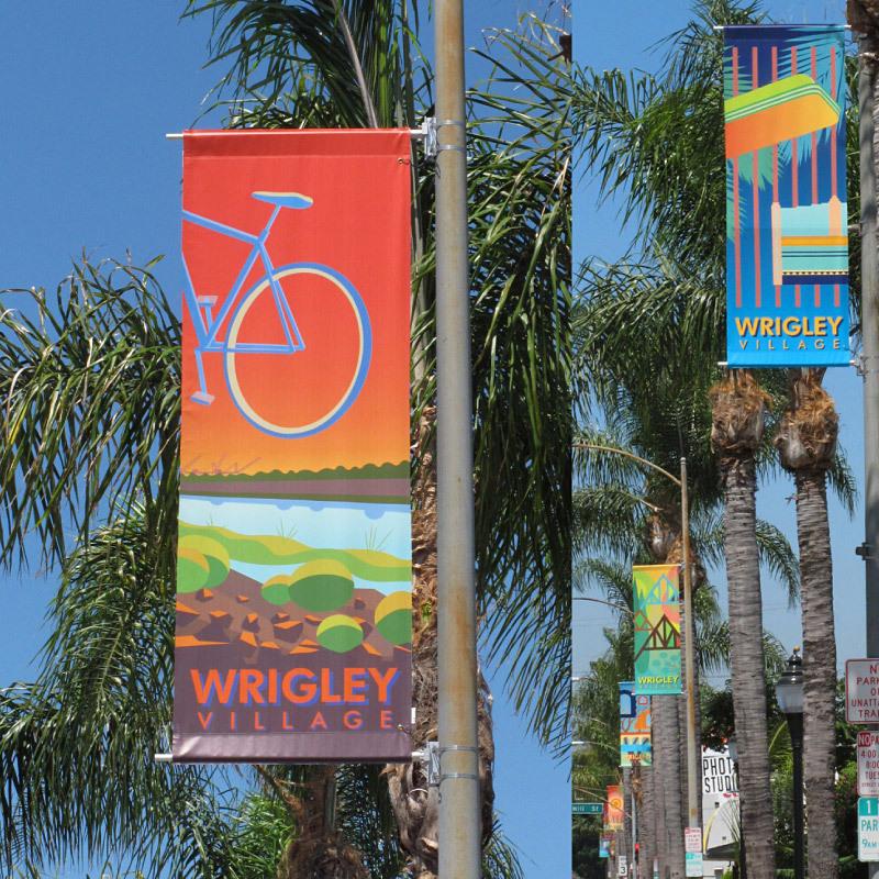 Wrigley Village Street Banners. (Long Beach, CA, 2011) Public art commission involving community participation.