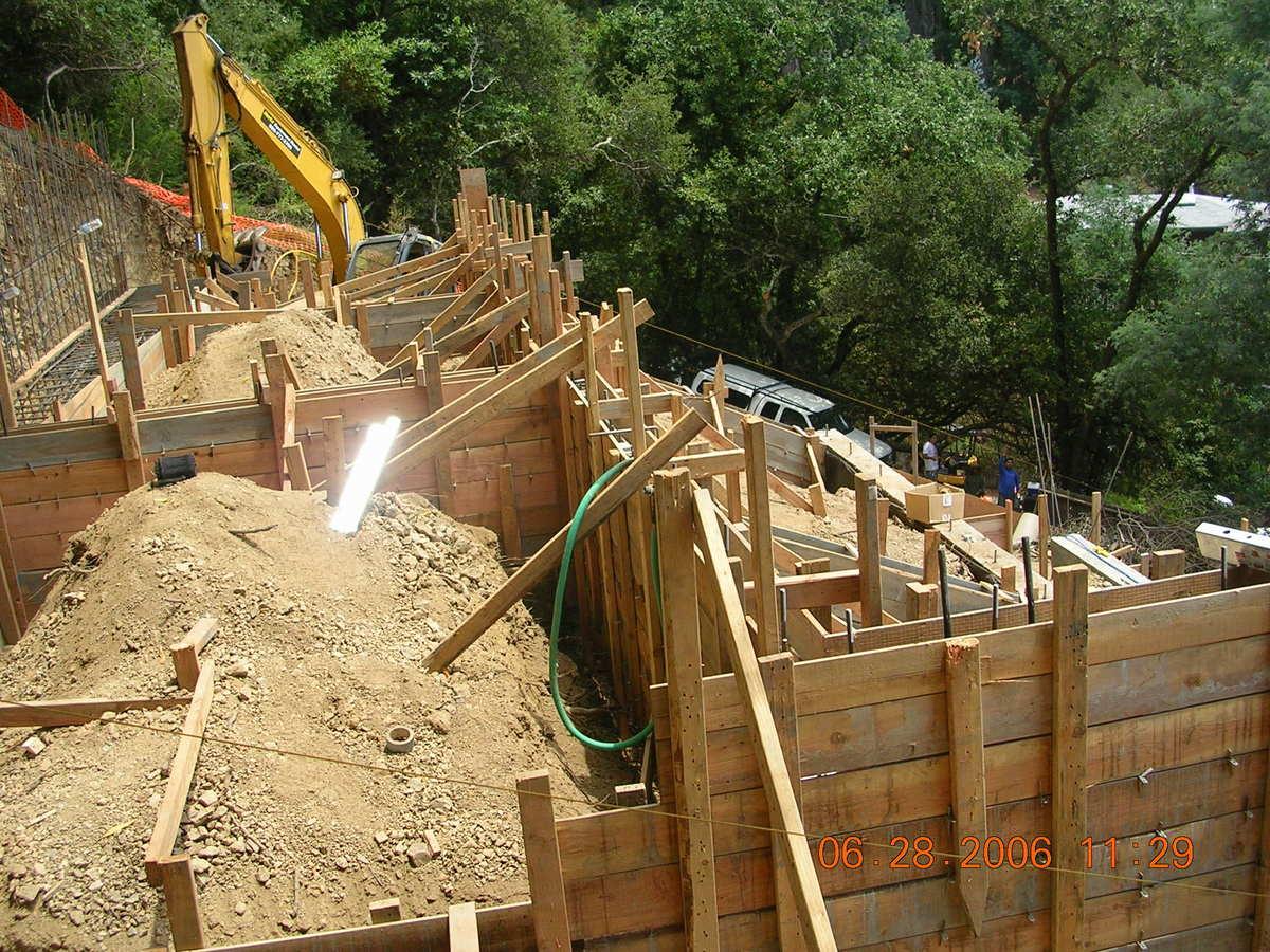 Fill wall under construction.
