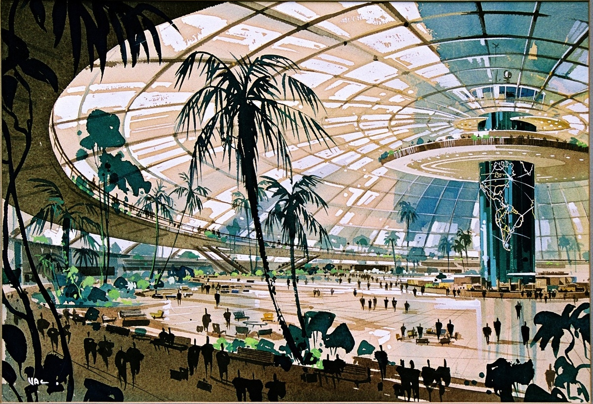 The original 1952 master plan for LAX envisioned by Pereira and Luckman.