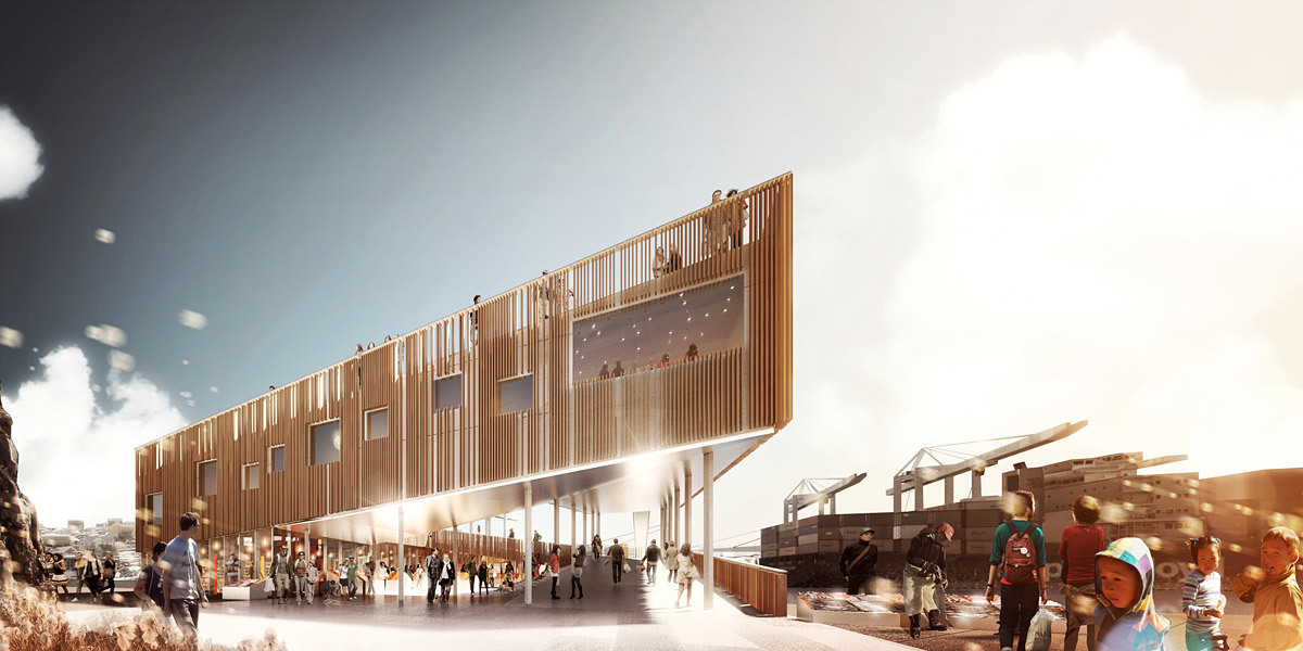 Rendering, Market Harbor, summer (Image: David Garcia Studio and Henning Larsen Architects)
