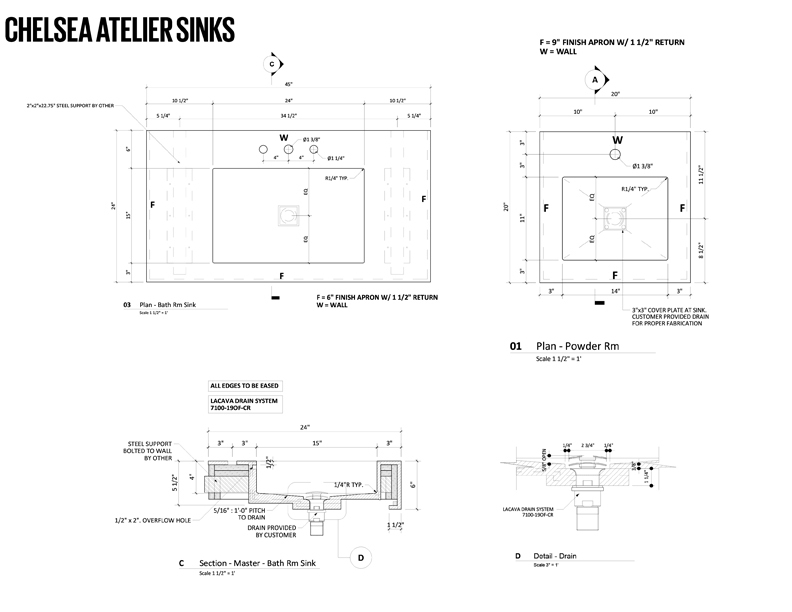 Chelsea Atelier Sinks Drawings