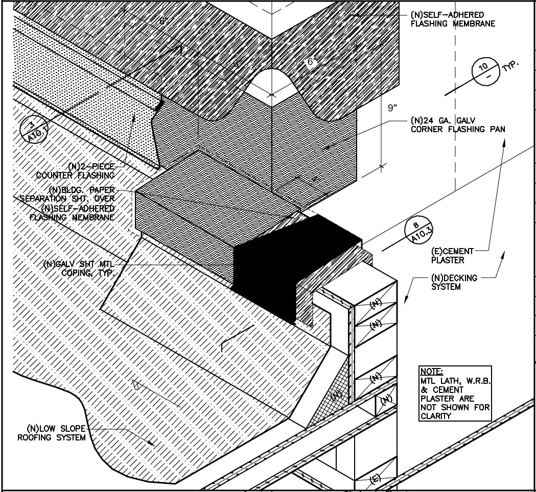Roofing system detail.