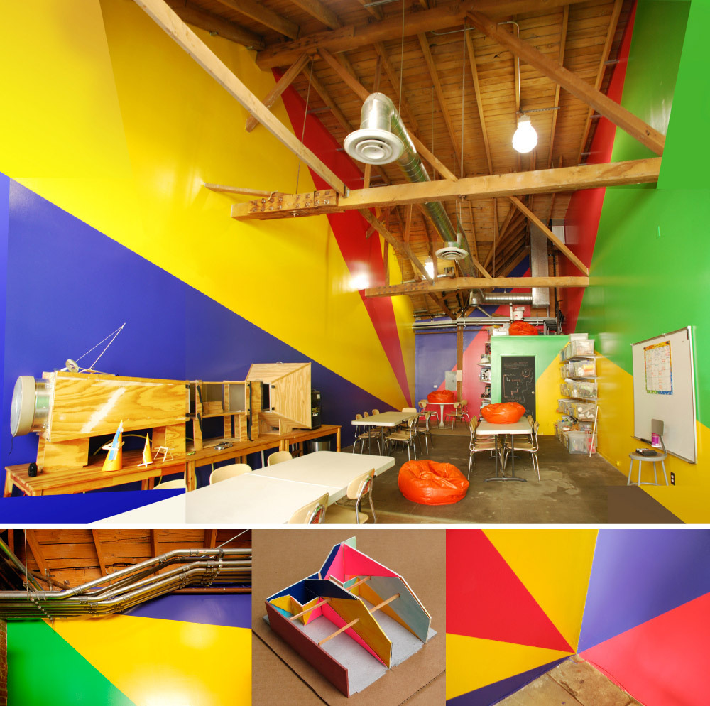 Children's Science Studios Paint Design. (Iridescent, Downtown LA, 2011) Big geometries and bright colors to fit the use (children making things during short periods of time) and the complex ceiling/space context.
