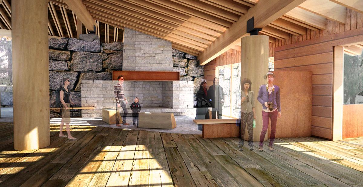 Main exhibit interior, fireplace