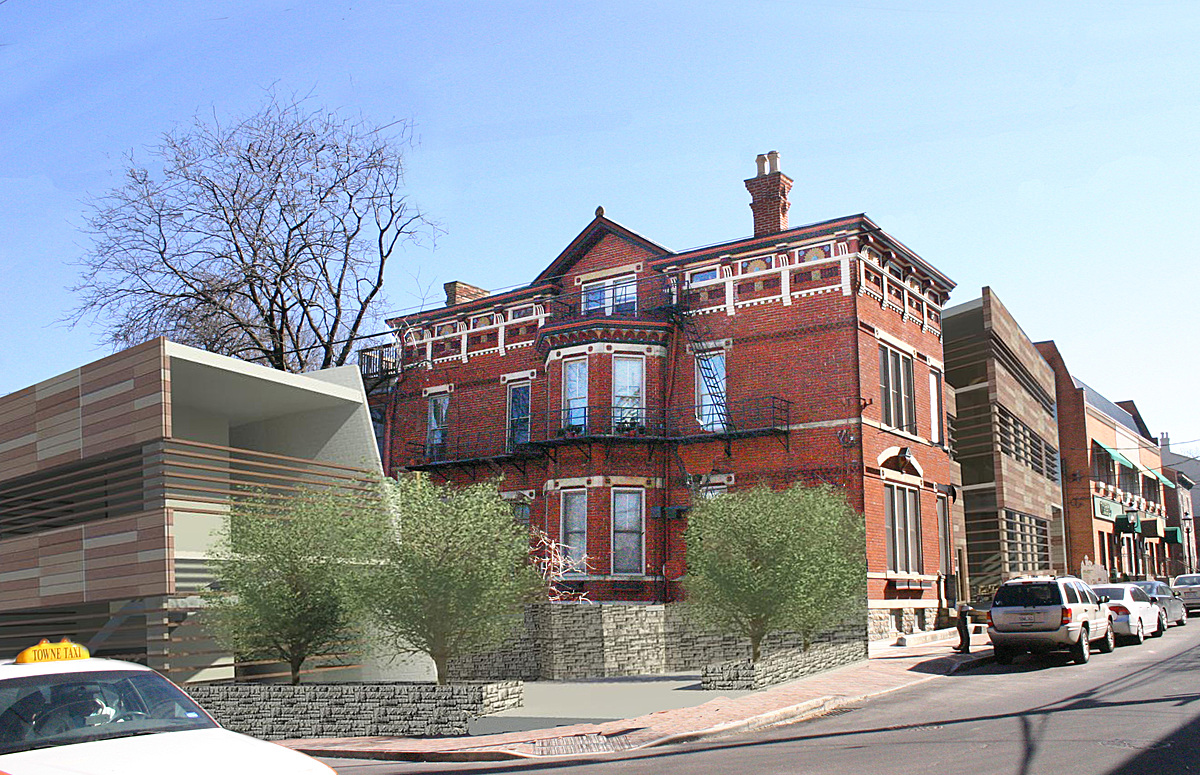 Corner street perspective (red brick building was existing)