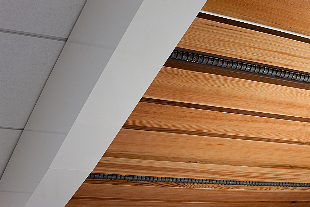 Ceiling detail - Reclaimed Florida Pine and Rebar
