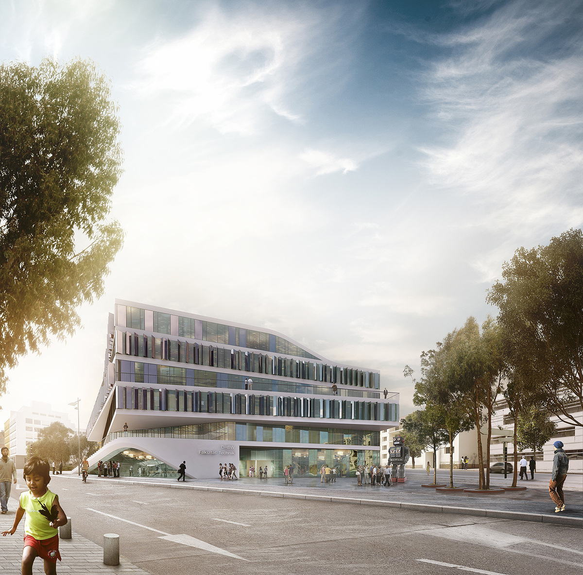 Exterior rendering of 3XN's winning building design for German university Duale Hochschule Baden-Württemberg (Image: 3XN)