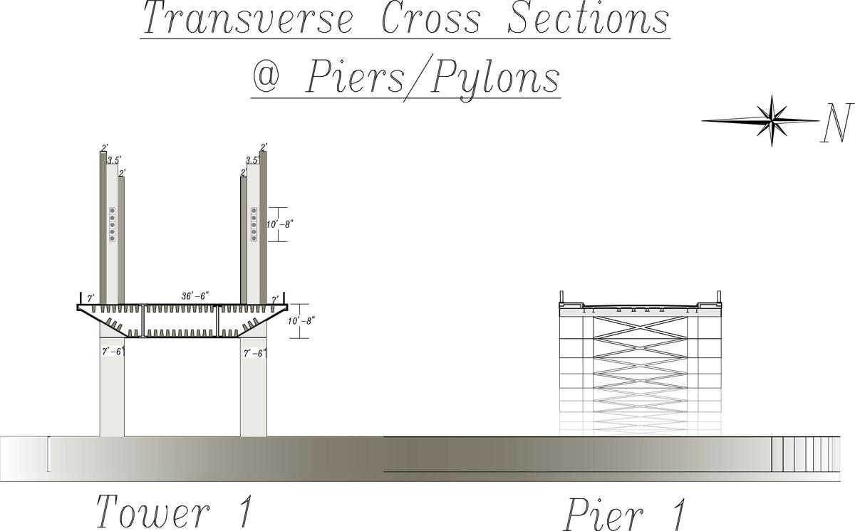 Peace & Friendship Bridges, Tower/Pier 1, Transverse X-Sections (CAD)