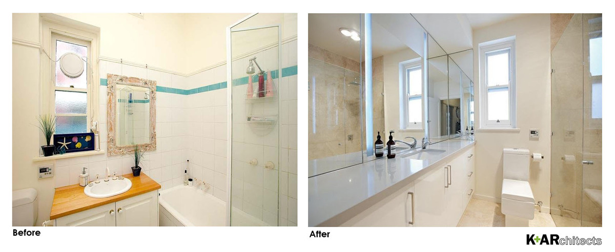 Carefully integrated cabinet and lighting behind the mirror, integrated laundry under the vanity bench and frameless shower.