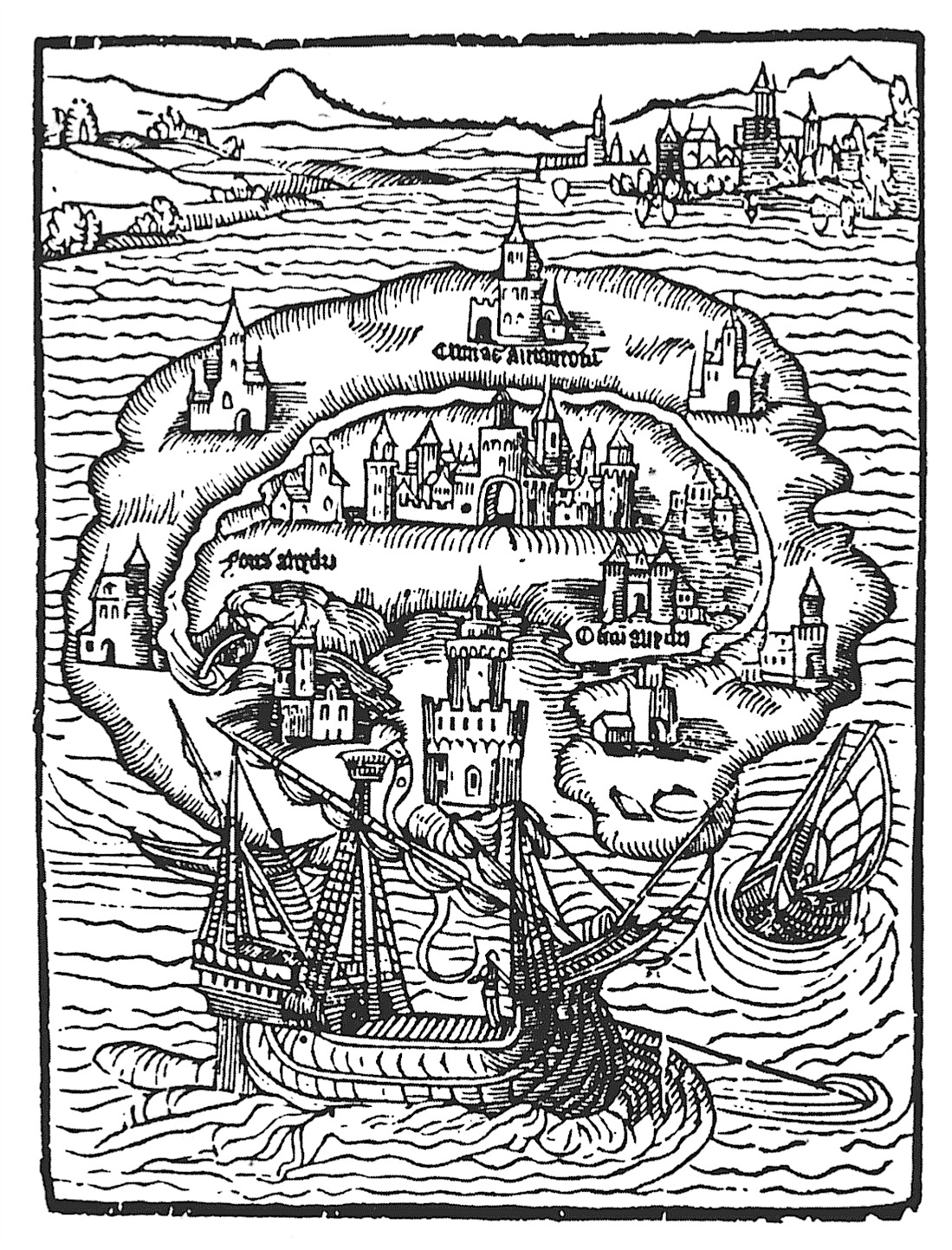 Title woodcut for Utopia written by Thomas More (1516)