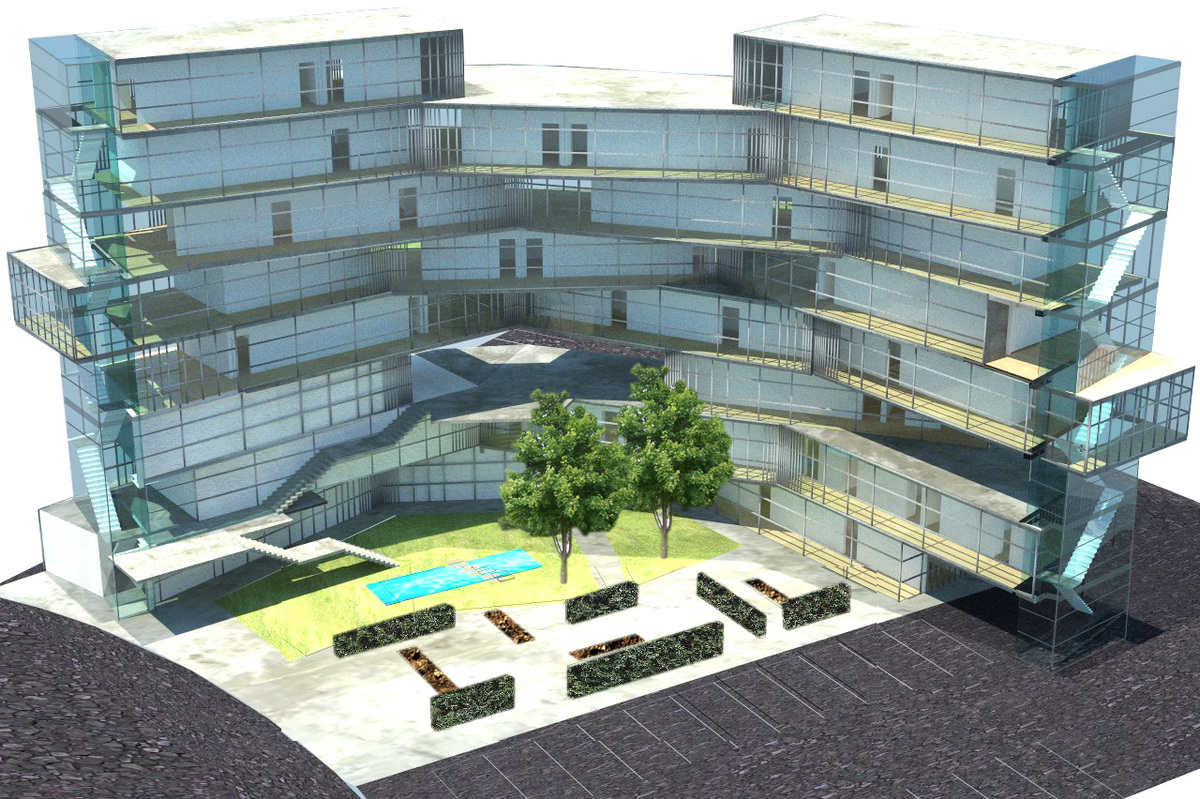 rendering of project proposal showing the circulation side and landscape elements
