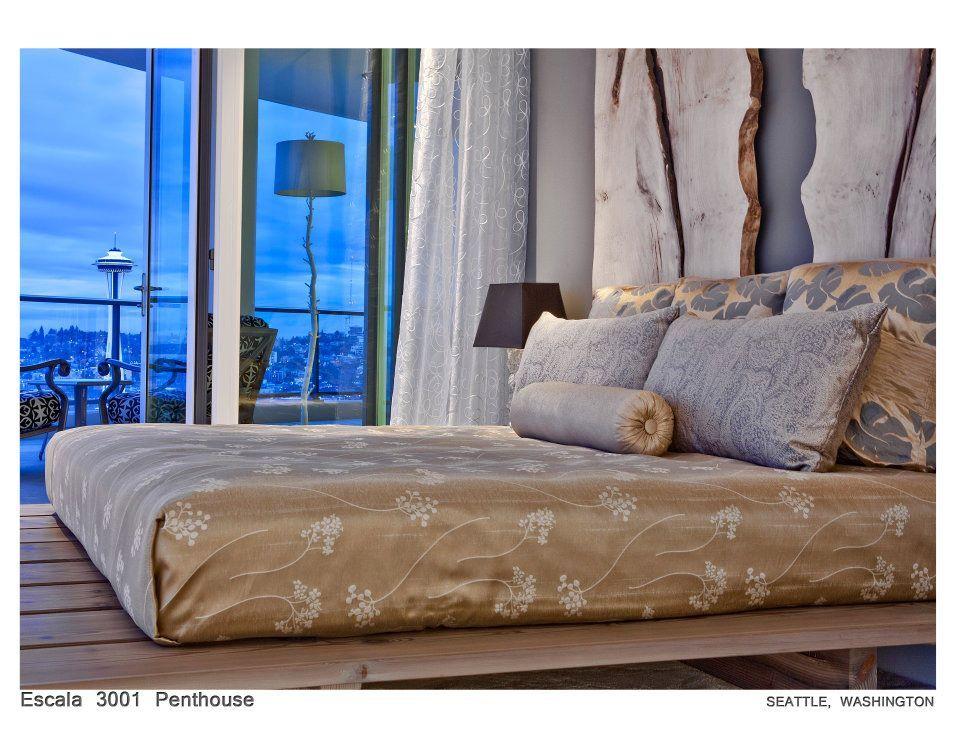 bedroom with custom headboard
