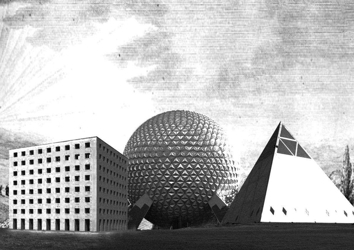 Pure 3 a.Modena Cemetery, Aldo Rossi,Modena, 1971 b.Spaceship Earth, Walt Disney Imagineering,Orlando 1983 c.Palace of Peace and Reconciliation, Foster + Partners, Astana, 2006