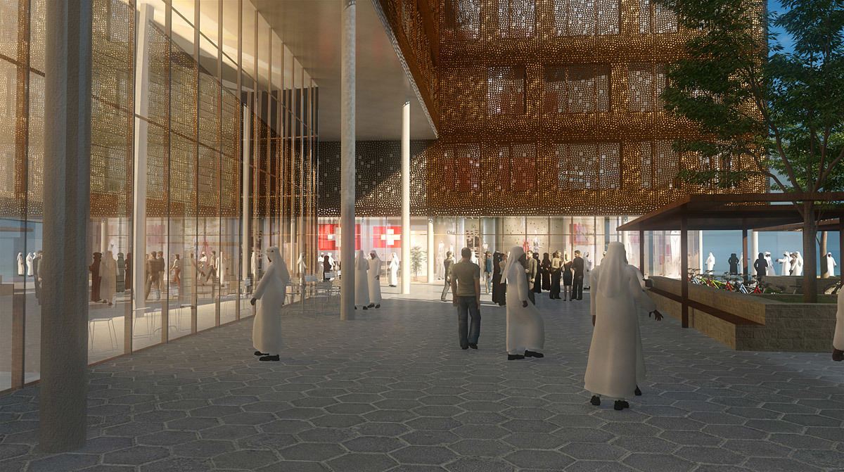 Acknowledgement Prize: Building implementing holistic architectural design, Masdar City, UAE by Bob Gysin + Partner BGP Architekten, Switzerland in collaboration with Dyer, United Kingdom, Hurley Palmer Flatt, United Kingdom, Markus Braach, Switzerland and Milcris, Oman: Main entrance to the Sprinter Building and the café/restaurant from the central plaza.